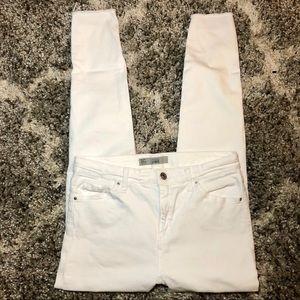 Topshop Moto Jamie Raw Step Hem Jeans in White